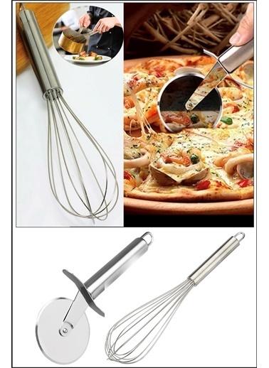 Kitchen Love Kitchen Love Çelik Pizza Hamur Ruleti & 21 cm Çırpıcı Renkli